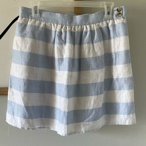 Cynthia Rowley Blue and White Linen Skirt Size 8